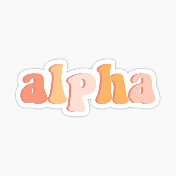 Retro Peach Alpha Greek Letter Sticker Sticker