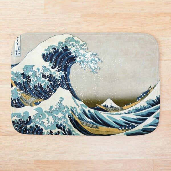 The great wave, famous Japanese artwork Bath Mat