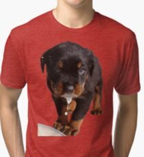 Cute Rottweiler Puppy Lapping Milk Vector Tri-blend T-Shirt
