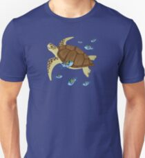 Green Sea Turtle Swimming With Sergeant Majors Unisex T-Shirt