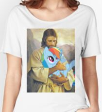 Jesus Loves Rainbow Dash Women's Relaxed Fit T-Shirt