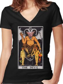 Tarot Card - The Devil Women's Fitted V-Neck T-Shirt