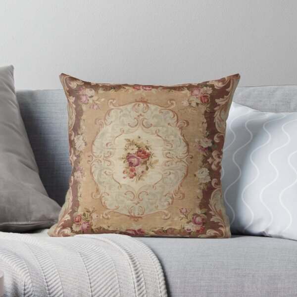 Antique Rose Floral French Aubusson Rug Print Throw Pillow