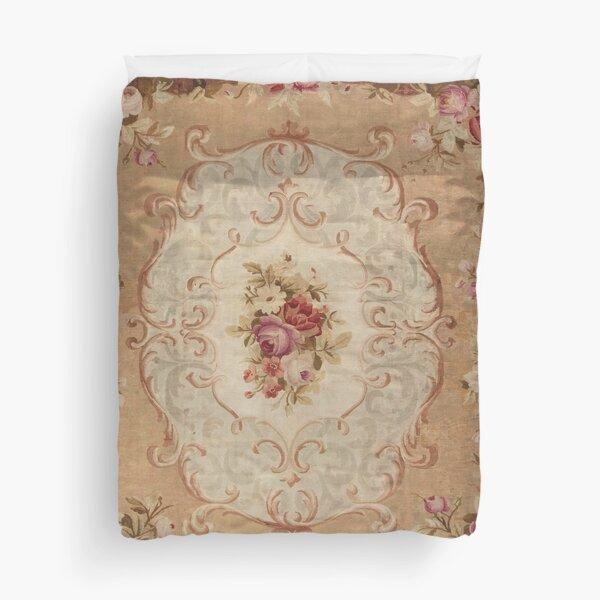 Antique Rose Floral French Aubusson Rug Print Duvet Cover