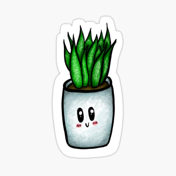 Cute Aloe Vera in Pot Car Laptop Phone Vinyl Sticker SELECT SIZE