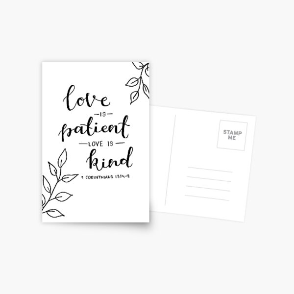 'Love is patient, Love is kind' Calligraphy Lettering Design Postcard