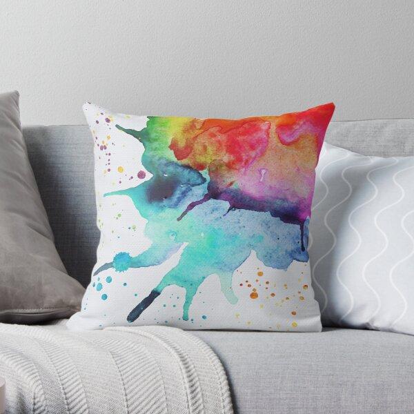 Rainbow Chakra Watercolor Splash Throw Pillow