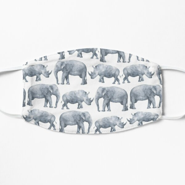 Elephant and Rhino Watercolour Flat Mask