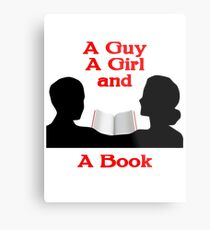 A Guy A Girl and A Book Metal Print