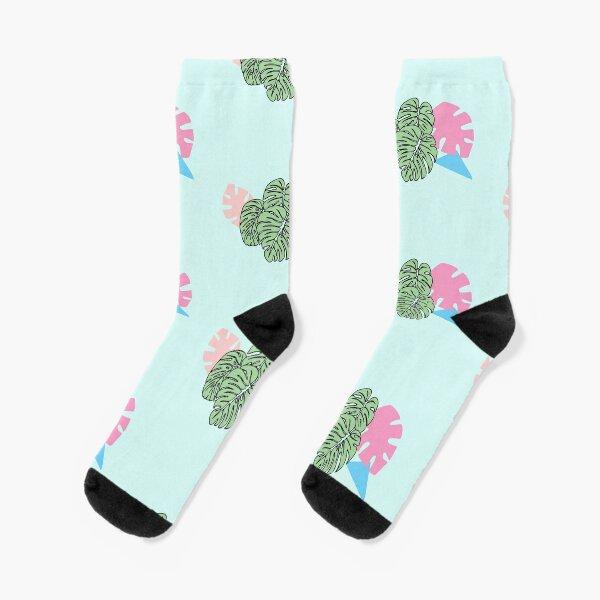 Monstera in Pastellfarben Socken