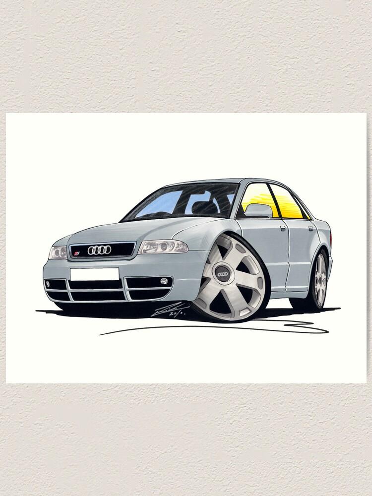 Audi S4 B5 >> Audi S4 B5 Silver Art Print
