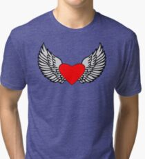 Feathered Wings and Heart Tri-blend T-Shirt