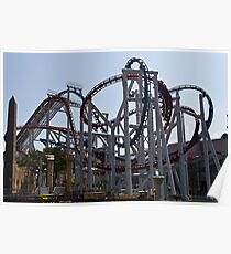 Roller coaster rides inside the Universal Studio Park in Sentosa in Singapore Poster