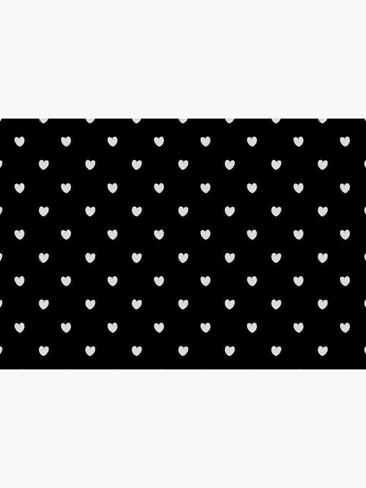 Little White Polka Dot Hearts on Black by RootSquare