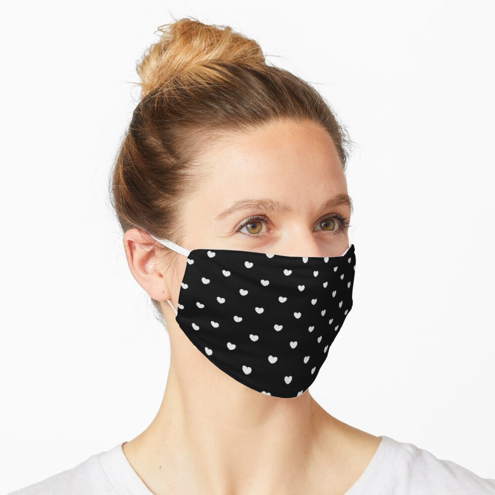 Little White Polka Dot Hearts on Black Mask