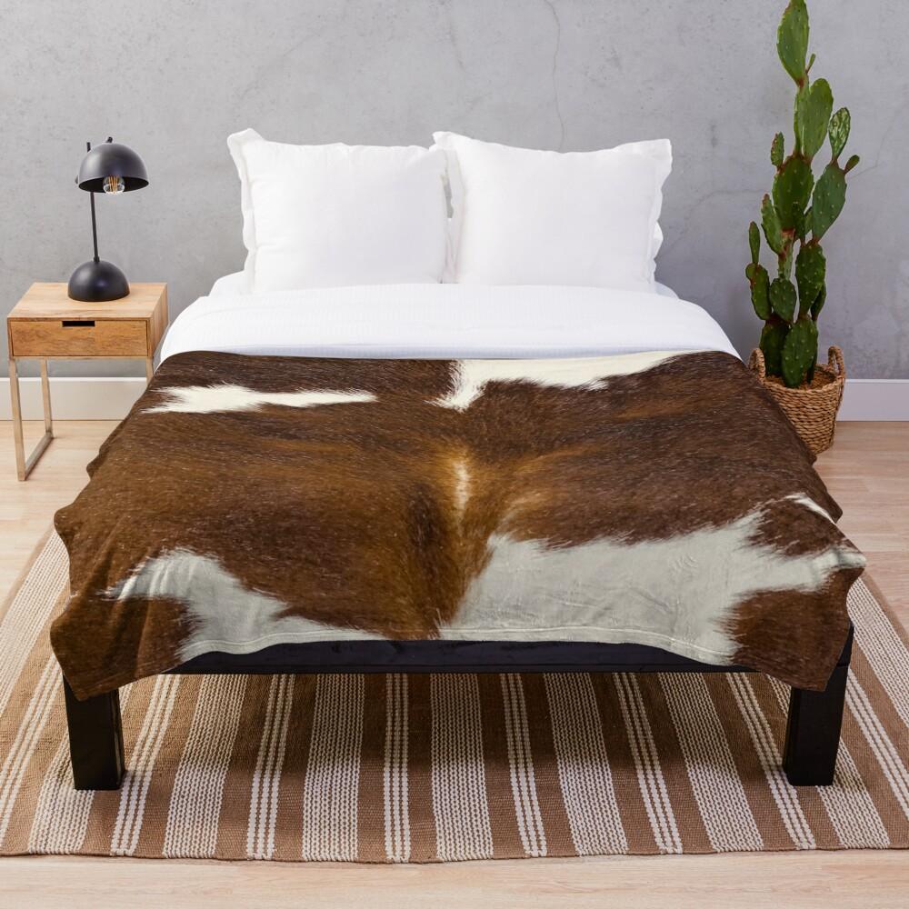 Brown Calf Cowhide Throw Blanket