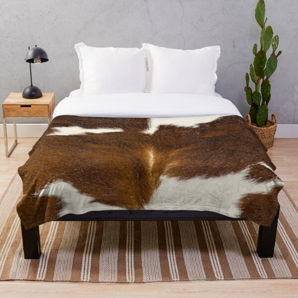 Brown Calf Cowhide Throw Blanket