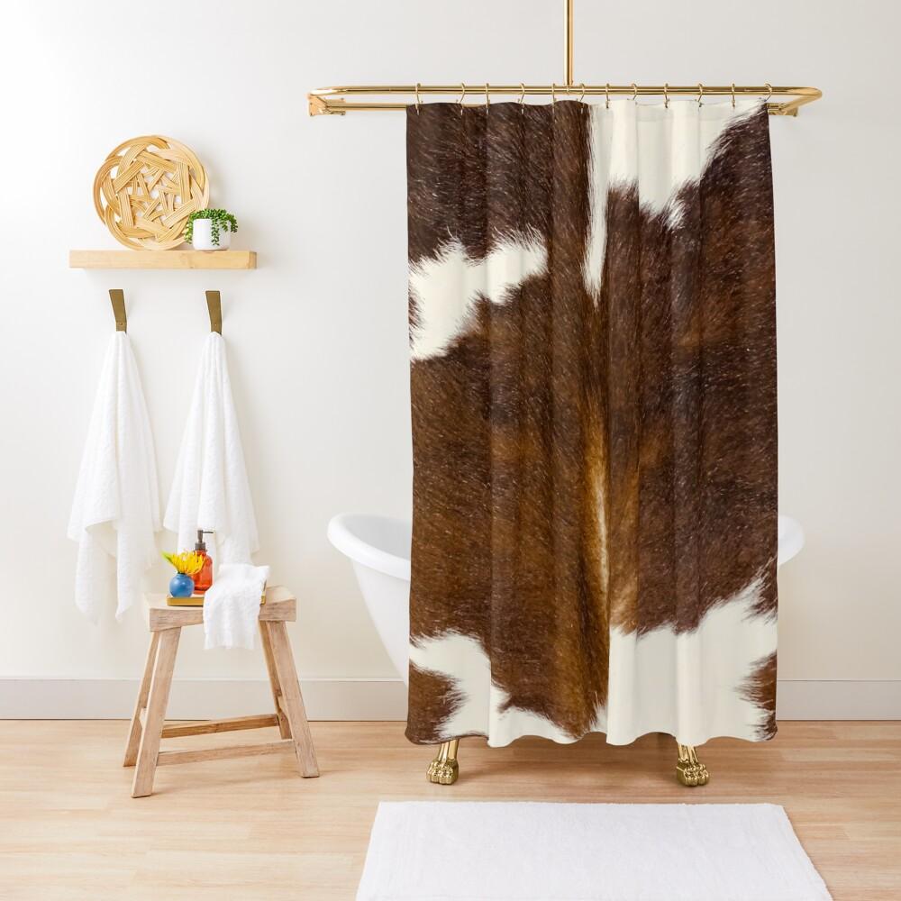 Brown Calf Cowhide Shower Curtain