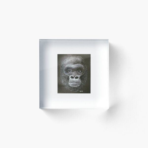 Black and White Gorilla Design Acrylic Block
