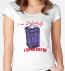"""Doctor Who """"I am definitely a mad man with a box."""" Women's Fitted Scoop T-Shirt"""