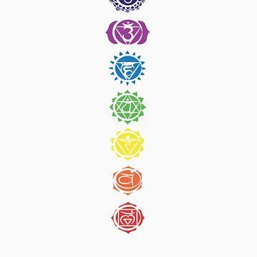 seven chakras vertical (dark tee) by offpeaktraveler