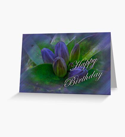 Happy Birthday Greeting Card - Closed Gentian - Bottle Gentian Greeting Card