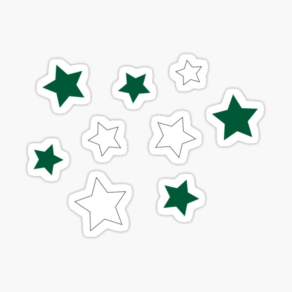 Green and White Stars Sticker
