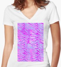 Tiger Stripes Blue, Pink and White Women's Fitted V-Neck T-Shirt