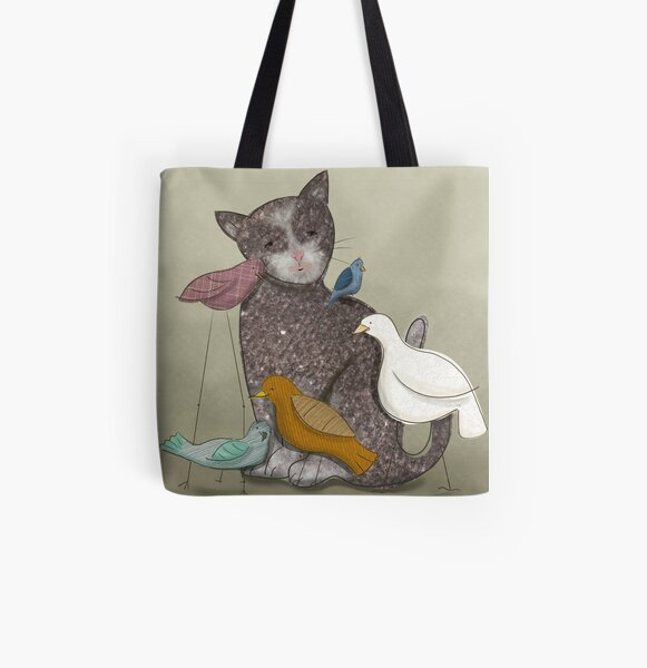 Birds and Cat All Over Print Tote Bag