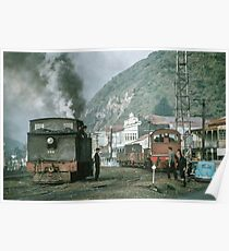 Steam engines Greymouth NZ 19650309 0099  Poster