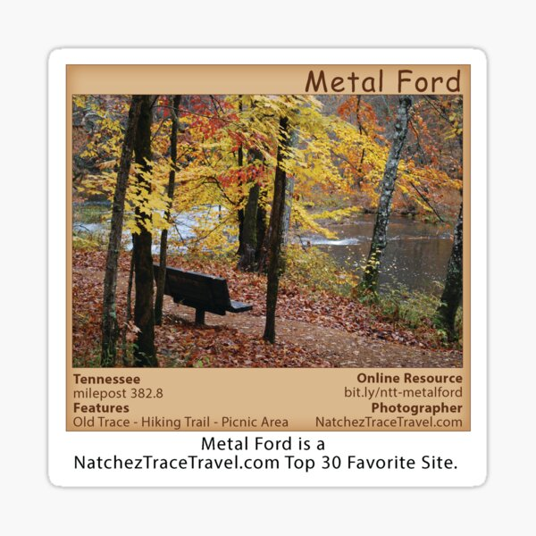 Metal Ford (fall) on the Natchez Trace Parkway. Sticker