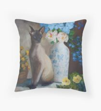 Siamese Cat with Flowers Throw Pillow