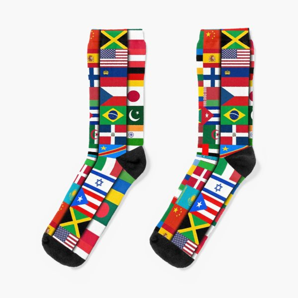 60 Flags of the Countries of the World, International Gift Socks