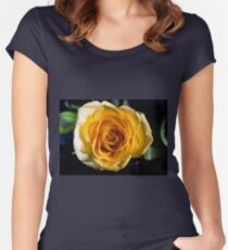 Backlit Yellow Rose Women's Fitted Scoop T-Shirt