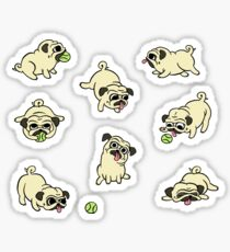 Playful Pugs Sticker