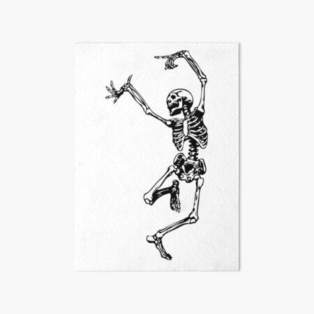 Dancing Skeleton   Day of the Dead   Dia de los Muertos   Skulls and Skeletons   Black and White    Art Board Print