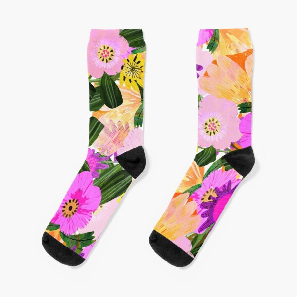 Colourful, Bright and Happy Flowers Socks