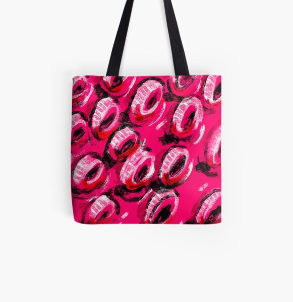 Abstract Digital Art ❤️ 90's Neon BOLD Mixed Media Pattern Expressive Brush Stroke Drawing Painting All Over Print Tote Bag