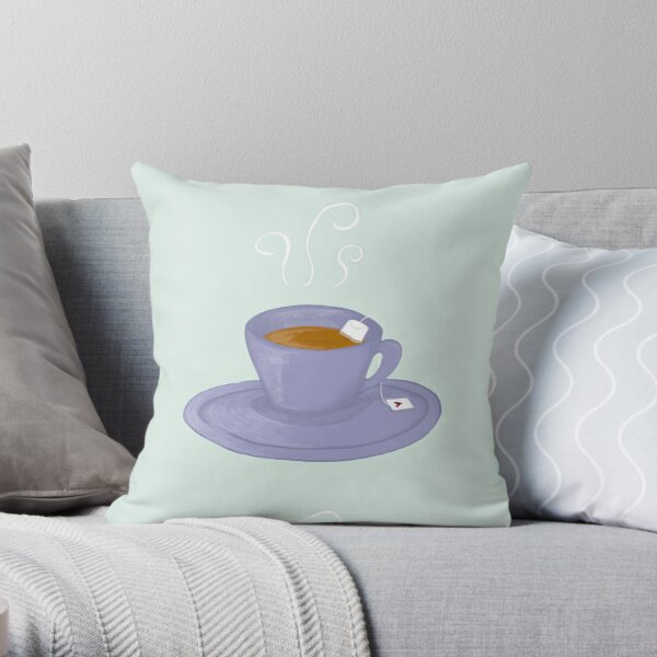 Teacups & Hearts Throw Pillow