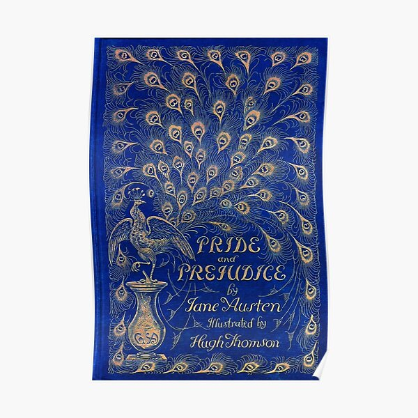 Pride and Prejudice, 1894 Peacock Cover in Blue Poster