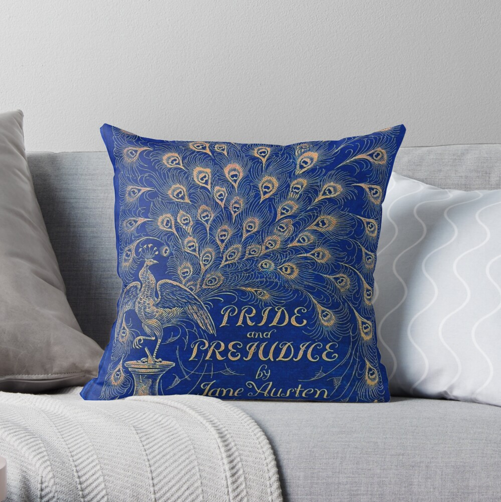 Pride and Prejudice, 1894 Peacock Cover in Blue Throw Pillow