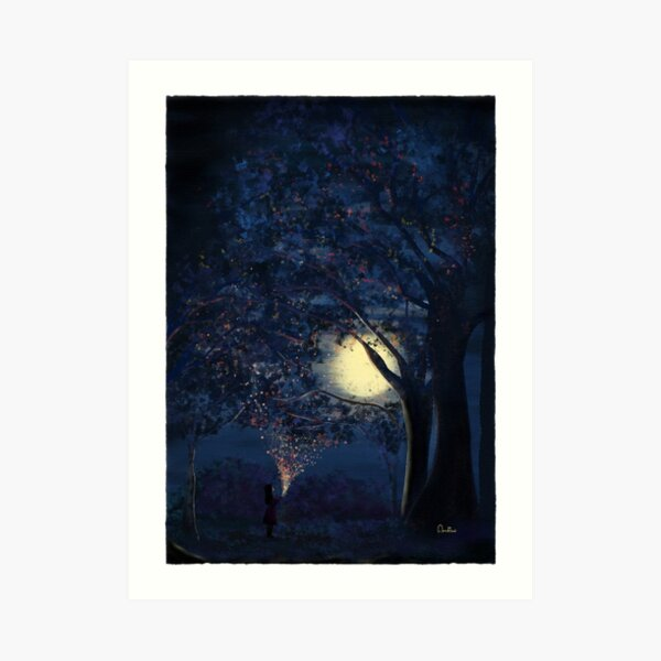 Moonlit Enchanted Woods by Annalisa Amato Art Print