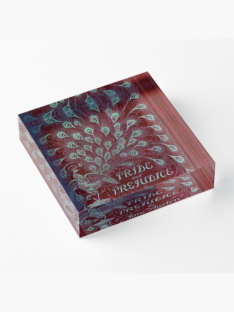 Alternate view of Pride and Prejudice, 1894 Peacock Cover in Red Acrylic Block