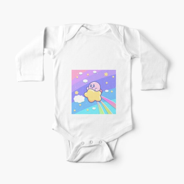 Kirby Flying UP the SKY Long Sleeve Baby One-Piece