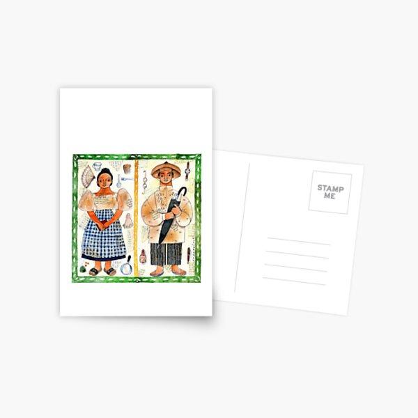 Filipino and Filipina illustrated by Robert Alejandro Postcard