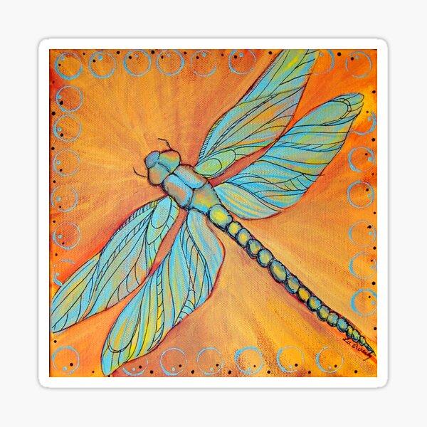 Dragonfly on Orange Sticker