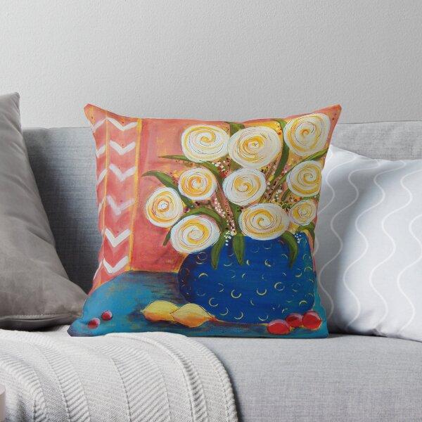 Circle Flowers Throw Pillow