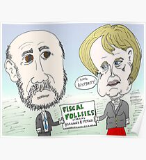 Ben Bernanke and Angela Merkel caricature Poster