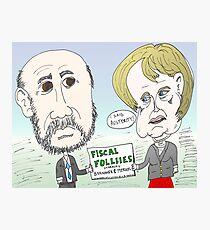 Ben Bernanke and Angela Merkel caricature Photographic Print