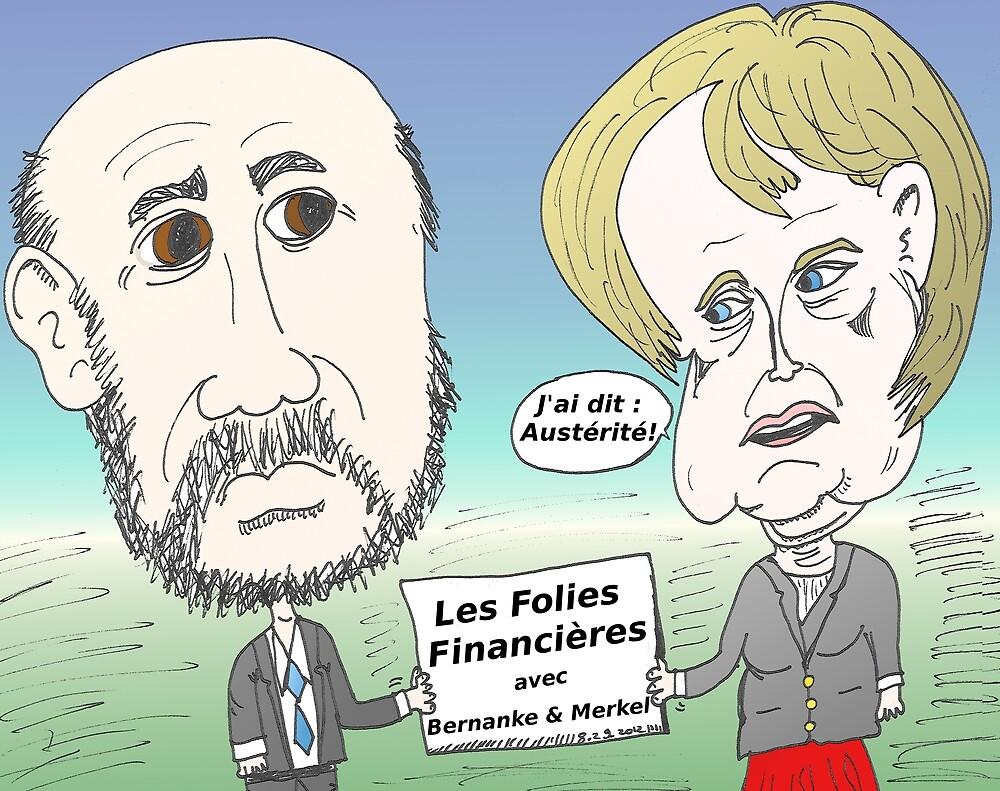 Mekel et Bernanke en caricature des folies boursier by Binary-Options